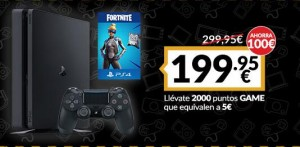 Playstation 4 slim de 500GB + Fortnite (Game Black Friday)
