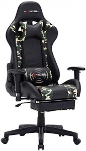 Silla Gaming Ergonómica Reclinable y con Reposapiés Retráctil