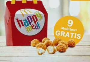 9 Chicken McBites DE REGALO con menú Happy Meal