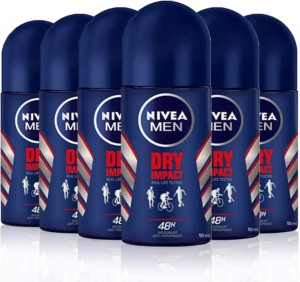 Desodorante NIVEA MEN Dry Impact Roll-on en pack de 6 (6 x 50 ml)