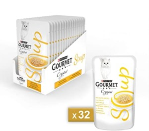 Purina Gourmet Crystal Soup Sopa con pollo natural Pack 32 x 40 gr