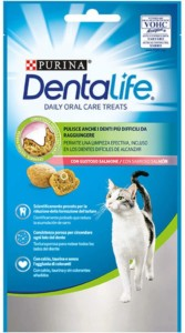 Purina DentaLife Snack dental para gato con salmón – Pack de 8 x 40 gr