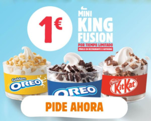 Mini tarrina de helado King Fusion por 1€