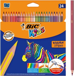 BIC Kids Evolution Stripes lápices de colores – Blíster de 24