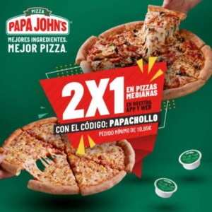 Pizzas medianas 2×1 en Papa John's
