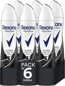 Desodorante antitranspirante invisible Rexona – Pack de 6 x 200 ml
