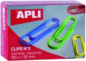 Caja de 100 clips de colores