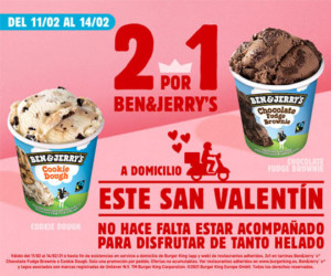 Tarrinas de helado Ben&Jerry's 2×1 en Burger King