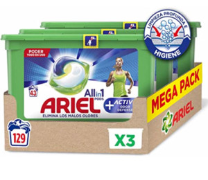 Ariel Pods All in One Active pack tres cajas (129 lavados)